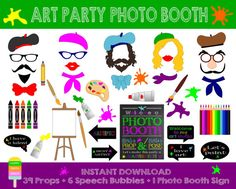 Artist Photo Booth Props - 46 Pieces (39 Props, 6 Speech Bubbles, 1 Photo Booth Sign)-Art Party,Painter Photo Booth Props-Instant Download