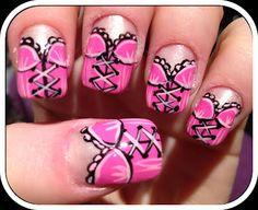 Corset/Lingerie Nail Art  Valentine IS coming up... may have to put on this corset!