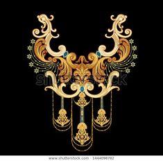 golden elements in baroque, rococo style. Motif Baroque, Baroque Design, Baroque Pattern, Baroque Art, Gold Pattern, Textile Pattern Design, Textile Patterns, Textile Prints, Flower Pattern Drawing