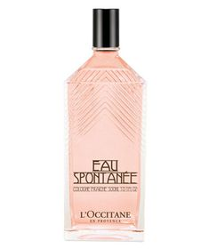 L'Occitane Eau Spontanée. Both floral and fruity, with rose notes, Mediterranean bergamot essential oil, and pomegranate extract, this light fragrance is contained in an oversized Art Deco–influenced bottle that will last for seasons to come.  To buy: $52, usa.loccitane.com.