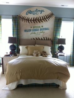 Huge Baseball painted on wall. Love this idea.