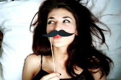 A girl with a mustache Girls With Mustaches, Female Facial Hair, Girl Trends, Body Powder, Movember, Massage Oil, Photos Of Women, Favim, Girl Hairstyles