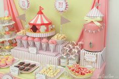 Circus Party Dessert Table, Circus Dessert Table, Pink circus party