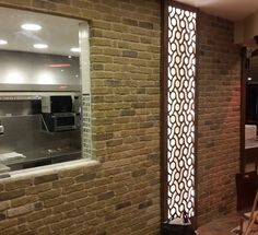 Cafe refurbishment using London Town brick slips Homeowner, Stone Cladding, Brick Tiles, Tiles Uk, Vintage Industrial Lighting, Interior Designers, Brick, Retro Furniture, Restaurant Design