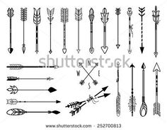 Big set of hand drawn arrows. Fighting arrow, munition. Vector illustration