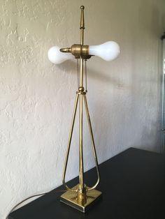 """VINTAGE MCM ATOMIC GOLD BRASS LAMP RETRO SPUTNIK TUBULAR ROCKET BALL FINIAL 28"""""""