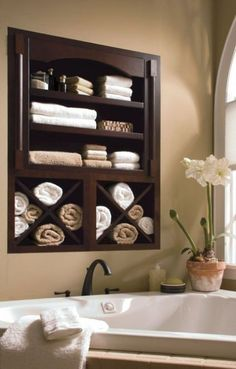Between the studs, in wall storage. Need this in our tiny bathrooms! Tiny Bathrooms, Beautiful Bathrooms, Luxury Bathrooms, Guest Bathrooms, Bad Inspiration, Bathroom Inspiration, Bathroom Ideas, Design Bathroom, Simple Bathroom
