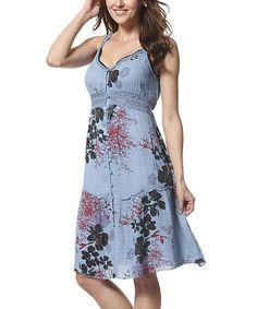 This Blue Floral Lace Trim Empire-Waist Dress is perfect! #zulilyfinds