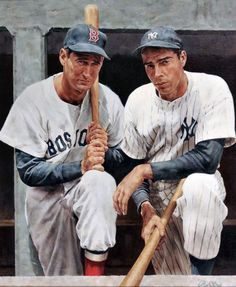 Ted Williams and Joe DiMaggio oil-on-canvas by Ron Stark.