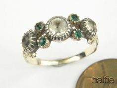 ENGLISH GOLD SILVER EMERALD PASTE RING c1820 | eBay
