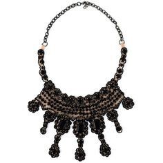 Valentino Vintage Embellished Necklace (€770) ❤ liked on Polyvore featuring jewelry, necklaces, black, kohl jewelry, black necklace, rolo chain necklace, vintage jewellery and black jewelry