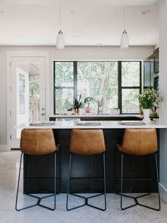 Kitchen Bar Stools Motionsense Faucet Navy Wood And Grey Designed By Grant K Gibson At Styling Our Rental Two Ways Color Vs Neutrals Island Black