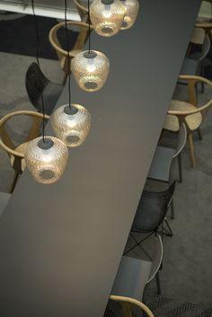 Corporate Canteen designed by Metropolis arkitektur & design… Mail Room, Lobby Lounge, Office Inspo, Cafe Restaurant, Restaurants, Chandelier, Ceiling Lights, Mood, Group