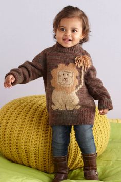 So cute: Lion kid's jumper ~ free knitting pattern