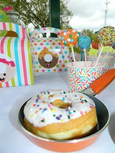 Cake pops at a donut birthday party! See more party planning ideas at CatchMyParty.com!