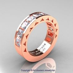Mens Modern 14K Rose Gold Princess White Sapphire Channel Cluster Wedding Ring R274-14KRGWS   ArtMastersJewelry - Jewelry on ArtFire
