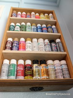 Repurposed kitchen drawer to storage shelf (for organizing craft paint). Great idea! ~ Mom's Crafty Space