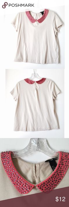 Rhinestone Collar H&M Top Super cute H&M top featuring pink rhinestone peter pan collar. Size Small. Good condition! Small stain from ironing inside front of shirt and can very very lightly see through to front side! See last 2 pics. H&M Tops Tees - Short Sleeve