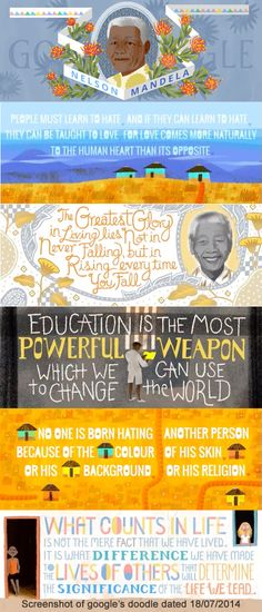 Special doodle from Google using famous quote from Madiba for Mandela Day. Serving Others, Human Heart, Famous Quotes, South Africa, Doodles, Lost, Teaching, Education, Famous Qoutes