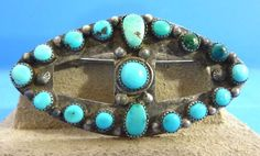Vintage Sterling Silver & Turquoise Native American PIN - Unsigned - Navajo???