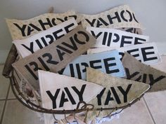 Yay Yipee Yahoo Hooray Bravo Flags  wedding exit by AlRoad on Etsy, $4.25