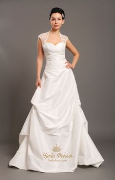 lindadress.com Offers High Quality Ivory Taffeta Open Back Cap Sleeve Wedding Dress With Beaded Lace Inset,Priced At Only USD USD $220.00 (Free Shipping)