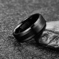 Cartwheel Brush, Black Tungsten Carbide Ring Cartwheel, Tungsten Carbide Rings, Jaco, Polished Look, Black Rings, Matte Black, Wedding Bands, Rings For Men, Engagement Rings