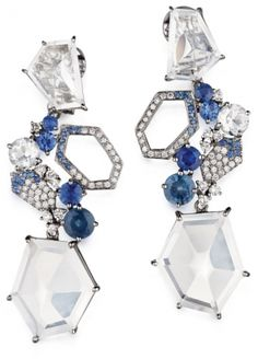 #Mimi So  18K white gold, diamond, sapphire and moonstone earrings
