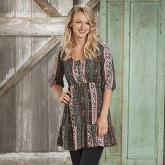 Ruffle Rancher Tunic Dress - Cowgirl Delight Ultimate Collection, Western Dresses, Ruffle Dress, Short Sleeve Dresses, Tunic, Lifestyle, Casual, Sleeves, Cuffs