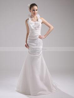 Maaja - corte sirena escote halter vestido de novia de organza con volante