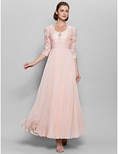 Lanting A-line Mother of the Bride Dress - Pearl Pink Ankle-... – USD $ 119.99