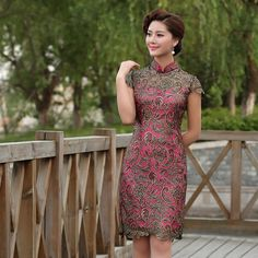 The combination ist very pretty! You can find it here: http://modernqipao.com/product/golden-black-lace-short-rose-red-qipao-modern-chinese-cheongsam-summer-dress/ I hope you like it! <3