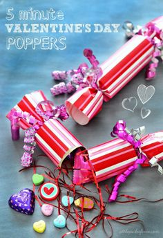 DIY Valentines Poppers. All that's needed is: toilet paper rolls, wrapping paper, ribbon, scotch tape, scissors, confetti, candy/small goodies to fill!