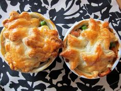 Chicken pot pies with flower and star crusts #recipes #kidmeals