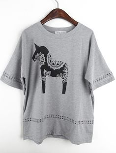 Grey Short Sleeve Lace Horse Print T-Shirt - Sheinside.com