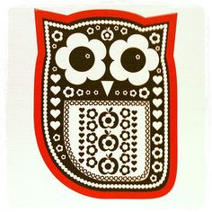 folksky owl - could do with tiny flowers, hearts die cuts