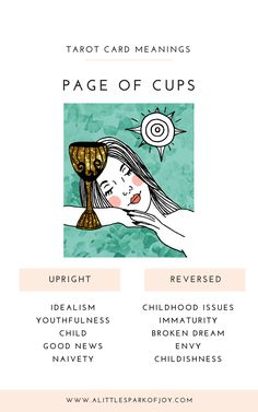 The Page of Cups in tarot represents our inner child, a Peter Pan of sorts. This card is attached to the feelings that we had as a child. Grimoire Book, Tarot Card Meanings, Cartomancy, Tarot Spreads, Oracle Cards, Tarot Decks, Deck Of Cards, Major Arcana, Tarot Cards