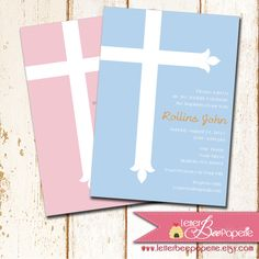 Simple Cross Baptism / Christening Invitation - Choose Your Colors- Printable DIY Invite - Boy, Girl, Twins - Confirmation, Dedication Card by LetterBeePaperie on Etsy https://www.etsy.com/listing/117173594/simple-cross-baptism-christening