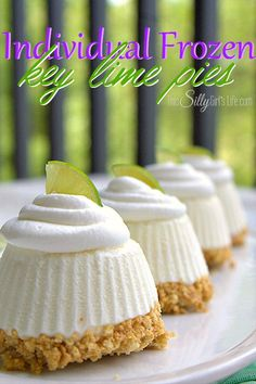 Individual Frozen Key Lime Pies are the perfect dessert for summer or any time! Seriously they have the best flavor. We just love key lime and this dessert has the perfect sweet tart flavor! Mini Desserts, Frozen Desserts, Just Desserts, Delicious Desserts, Yummy Food, Frozen Treats, Dessert Healthy, Frozen Key Lime Pie, Mini Key Lime Pies