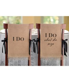 Lillian Rose I Do Burlap Chair Cover - Set of Two | zulily
