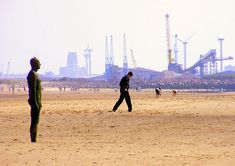 Seaforth and beyond -- sand-scape (Published in two newspapers) Container Terminal, Anglican Cathedral, Iron Men, Big Building, Male Makeup, Southport, Beach Look, Uber, Liverpool