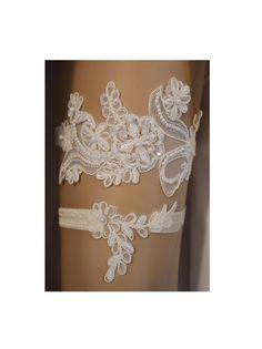 Lace Wedding Garter Set Ivory Beaded Bridal