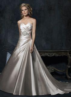 strapless a line wedding dresses | Satin A-line Strapless Sweetheart Neckline Wedding Dress