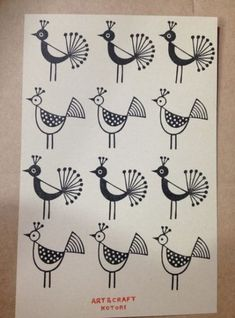 Images of plants and birds with motifs Images of plants and birds with motifs Eraser stamp of ART CRAFT KOTORI Images of plants and birds with motifs Images of plants. Indian Art Traditional, Modern Indian Art, Indian Folk Art, American Indian Art, Worli Painting, Fabric Painting, Painting Abstract, Madhubani Art, Madhubani Painting