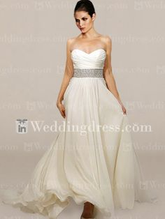 Strapless Chiffon A-line Beaded Waist Wedding Dress. I love the three colors and the beaded belt is very clean and classy.