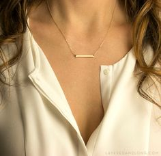 Personalized bar necklace in 14K Gold Fill, 14kt Rose Gold Fill, or Sterling Silver. This subtle, slender Name Plate Necklace can be left blank or