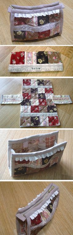 How to Sew Quilted Patchwork Zipper Pouch / Makeup Bag. DIY Photo Tutorial http://www.handmadiya.com/2016/02/easy-cosmetic-bag-patchwork.html