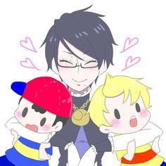 Lucas, Ness and Bayonetta.              Awww one big happy smash family