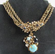Miriam Haskell ожерелье красивый W тройной цепочкой и бирюза стекло драгоценности
