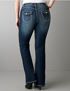 Give your look an art deco touch with our multi-stitch flare jean. Dark sandblast fashion denim is edgy & curve-flattering with spandex stretch and fading in all the right places, plus tri-tone stitching and abrasions. Classic 5-pocket style with buttoned flap pockets on back. Button & zip fly closure and belt loops. lanebryant.com